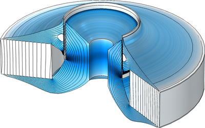An image of a magnetic circuit for a loudspeaker device, with the optimized topology visualized with a blue color gradient.