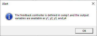 A screenshot of an Alert window describing the output variables for the state-space controller.