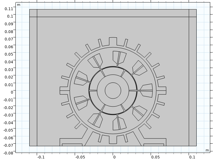The 2D geometry of the PMSM model used to analyze electric motor noise, visualized in gray on a gridded background.