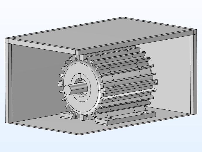 An image of the 3D PMSM model with the surrounding acoustic domain, visualized in gray.