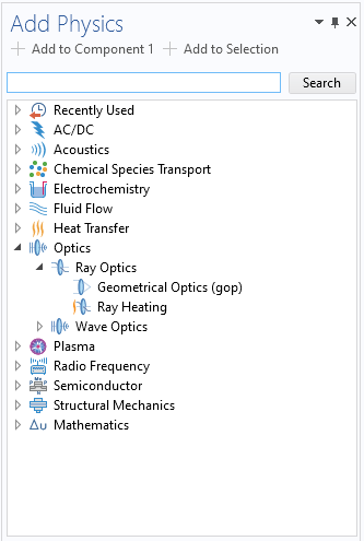 A screenshot of a list of predefined couplings for analyzing radiative heat transfer in COMSOL Multiphysics, including a Ray Heating interface under the expanded Ray Optics branch.