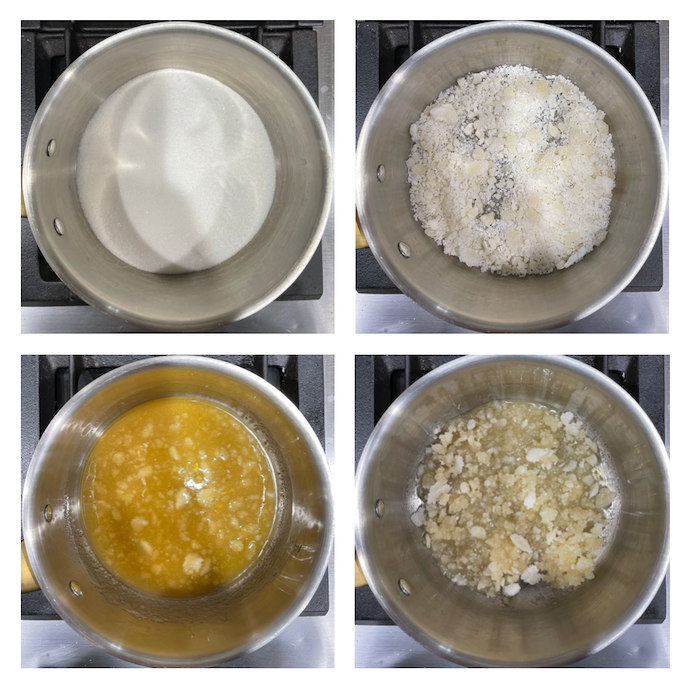 A grid of 4 photos showing the different stages of the caramel cooking process, starting with a pan of white, granulated sugar that gradually turns into a light brown caramel mixture.