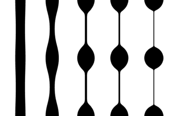 5 side-by-side figures showing the profiles of an Oldroyd-B polymer filament at different time steps.