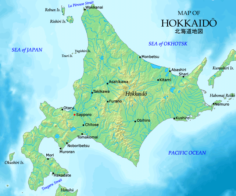 An image of a map of Hokkaidō, an island in northern Japan.