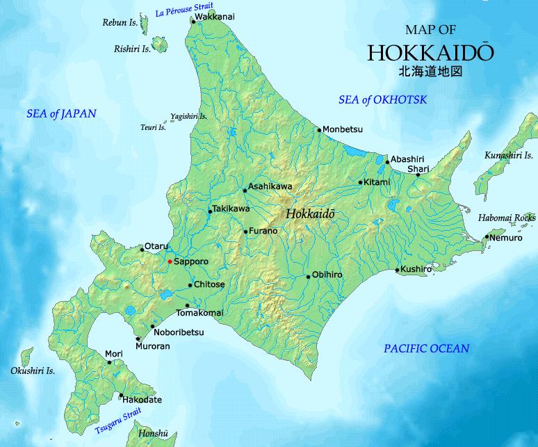 An image of a map of Hokkaidō, an island in northern Japan.