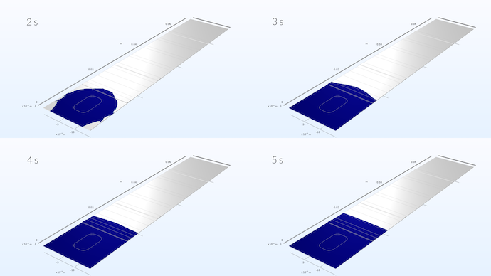 4 images showing a COMSOL Multiphysics model of a test strip as the liquid sample spreads over 2, 3, 4, and 5 seconds.