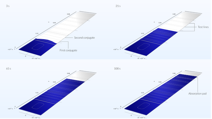 4 results plots for the rapid detection test model in COMSOL Multiphysics, showing the sample traveling through the parts of the test strip after 3, 21, 65, and 100 seconds.