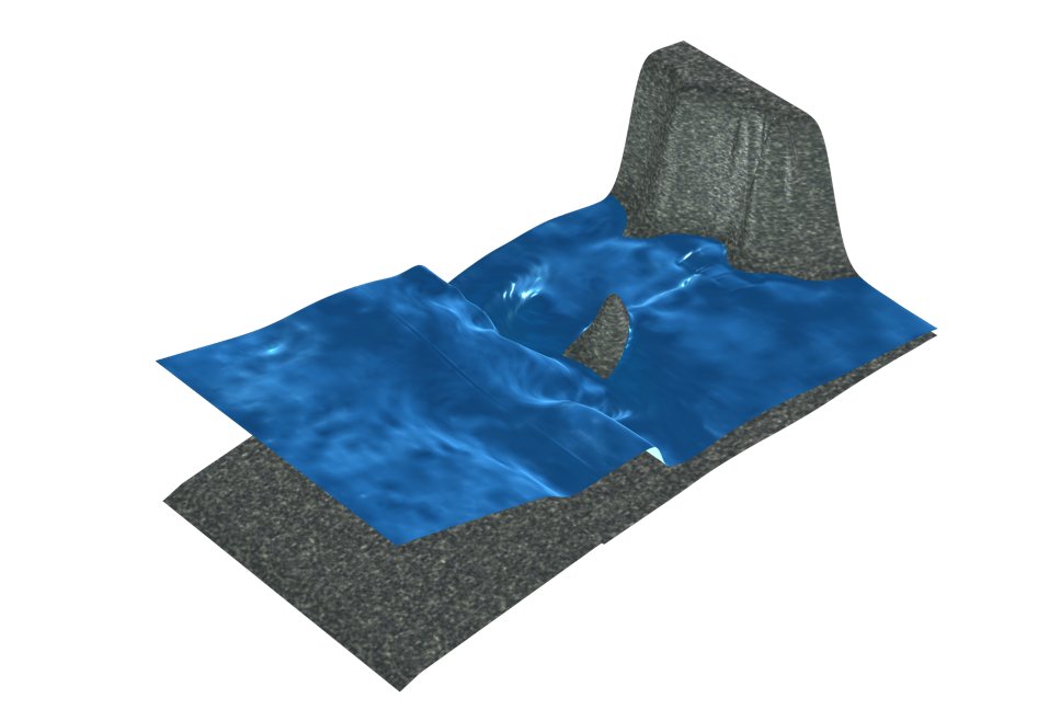 An image of a computational 3D model of tsunami waves on a beach, with the ground and waves visualized in realistic textures and colors.