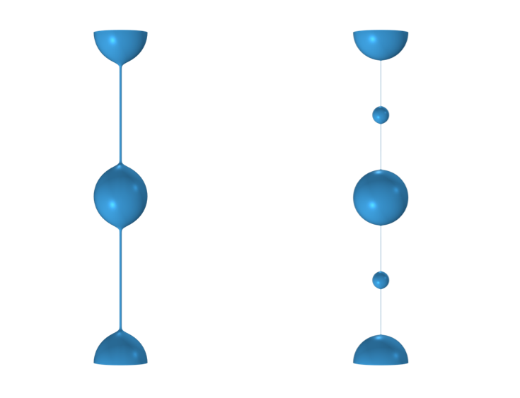 A filament of viscoelastic fluid with beadlike drops connected by a thin thread, and visualized in blue (left). A filament of viscoelastic fluid with large, beadlike drops and smaller satellite drops in between, visualized in blue (right).