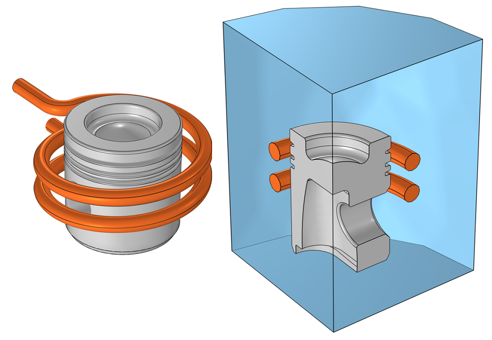 Side-by-side images of a model of an aluminum cylinder head visualized in gray in orange and the computational domain for the model when exploiting symmetry, visualized as a blue quarter circle.