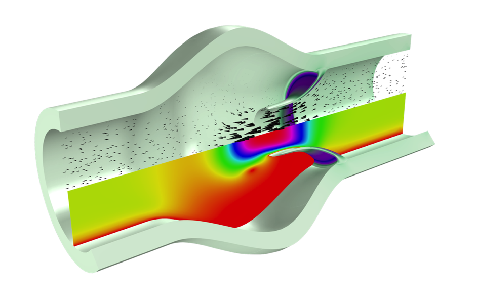 A simulation of blood flow through a heart valve modeled in a rainbow color table, a common FSI problem.