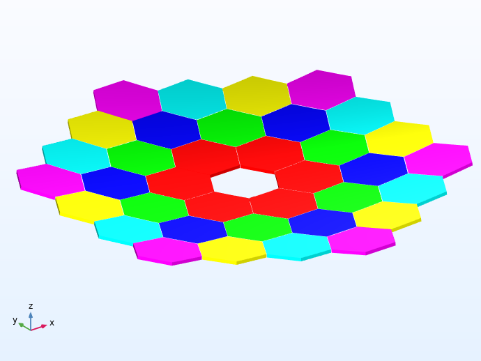 A visualization of the 36 primary mirrors of the Keck Telescope modeled in COMSOL Multiphysics.