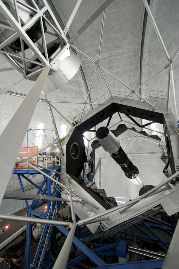 A photograph of the 36 segmented mirrors inside the Keck Telescope.