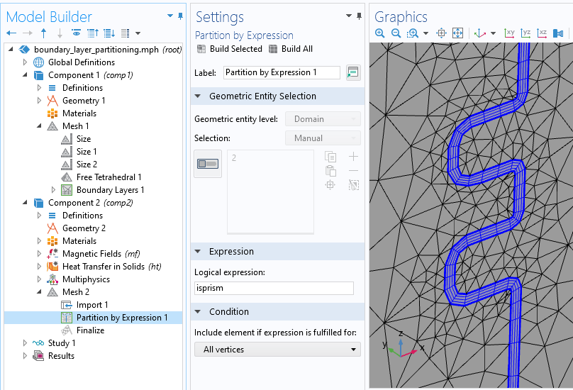A screenshot of the model tree on the left, Partition by Expression settings in the center, and Graphics window on the right, showing a newly partitioned mesh domain in gray and blue.