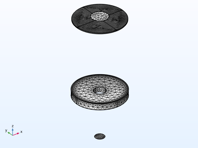 A view of the different meshed lens parts for the Schmidt–Cassegrain telescope model.