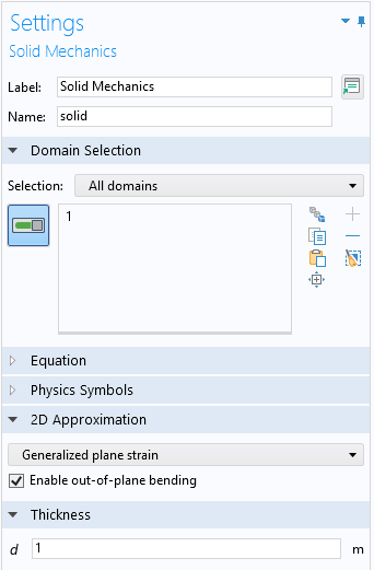 A screenshot of the Settings window for the Solid Mechanics feature, with the Domain Selection, 2D Approximation, and Thickness sections expanded.