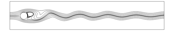 A 2D image of the streamlines around a cylinder when the Reynolds number is 100, and the lines are curved and wavy.