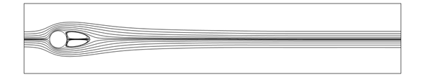 A 2D image of the streamlines around a cylinder when the Reynolds number is 30 and the lines are a bit more curved.