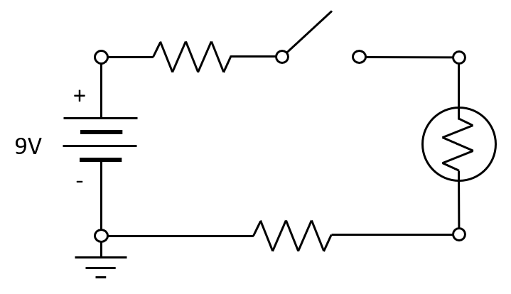 A simple circuit diagram for a flashlight.