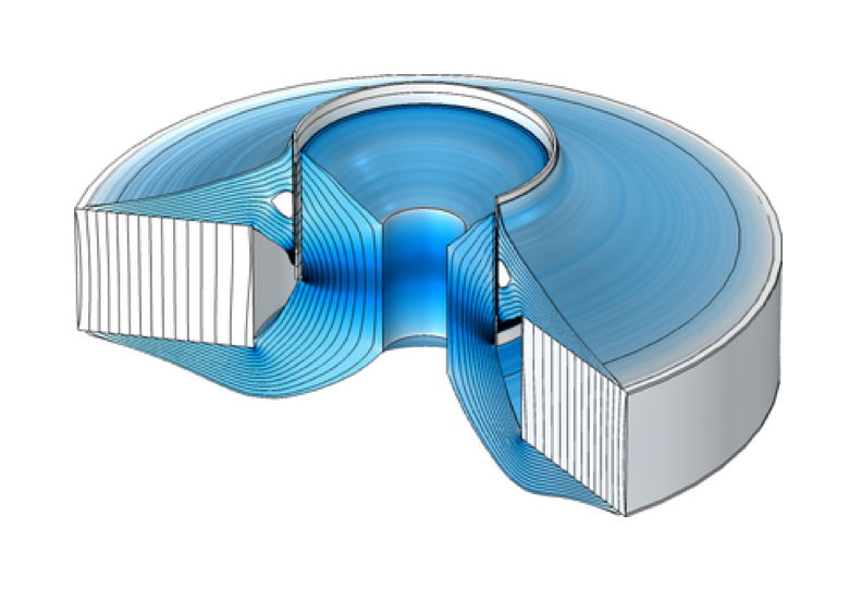 An image of a loudspeaker model with an optimized geometry and a flat BL(x) curve visualized in a blue–white color gradient.