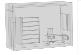 A cutaway view of half of the geometry for the office model.