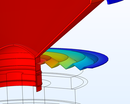 An image of a traditional spider design in COMSOL Multiphysics, with the loudspeaker shown in red and the spider visualized in a rainbow color table.