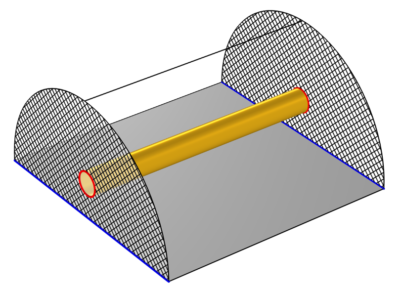 A schematic of the setup for a transmission line model, with TEM ports shown in a crosshatched pattern and the ground and voltage shown in blue and red, respectively.