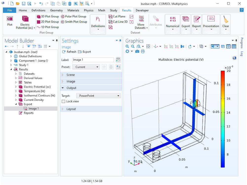 A screenshot of the Model Builder with the Image settings open and the Target set to PowerPoint on the left, with the busbar model displayed in the Graphics window on the right.