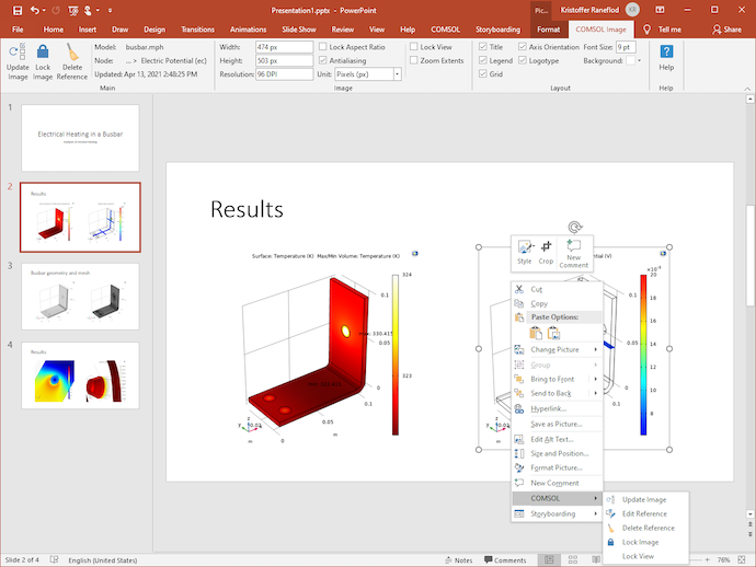 A screenshot of the PowerPoint application open, with the COMSOL Image ribbon tab expanded across the top menu bar and a dropdown menu expanded over the image on the right.