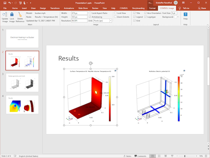 A screenshot of the PowerPoint application open, with the COMSOL Image ribbon tab expanded across the top menu bar.