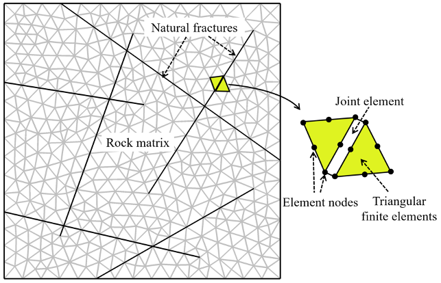 The discretized mesh for the hydromechanical model, with the natural fractures, rock matrix, joint element, element nodes, and triangular finite elements labeled.
