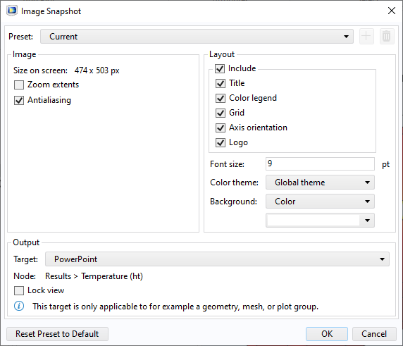 A screenshot of the Image Snapshot Settings window in COMSOL Multiphysics.