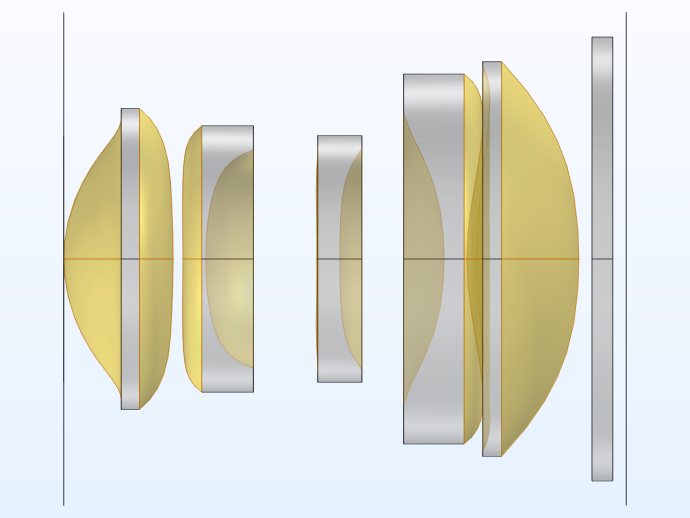 The compact camera module model with the cumulative selection of lens surfaces visualized in yellow.