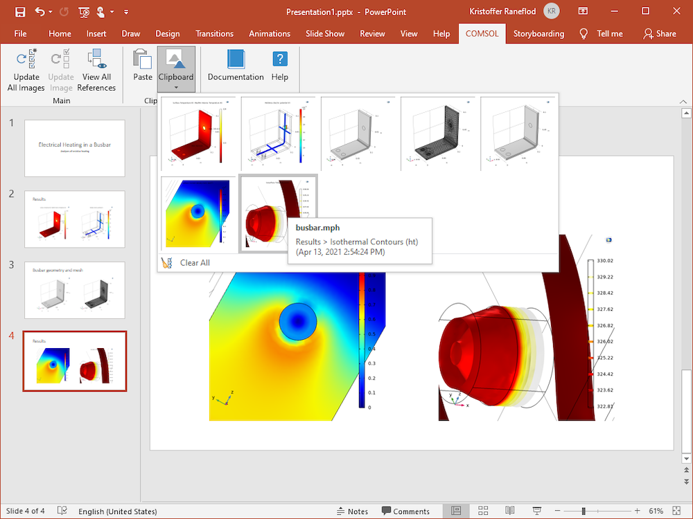 A screenshot of the PowerPoint application open, with the Clipboard option on the ribbon expanded to show 7 various model images.