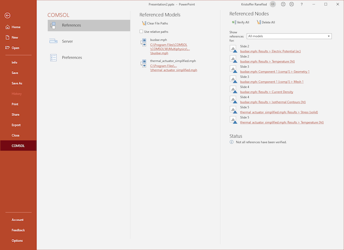 A screenshot of the PowerPoint application open and showing the COMSOL tab, with options for References, Server, and Preferences, as well as a list of Referenced Nodes and Referenced Models.