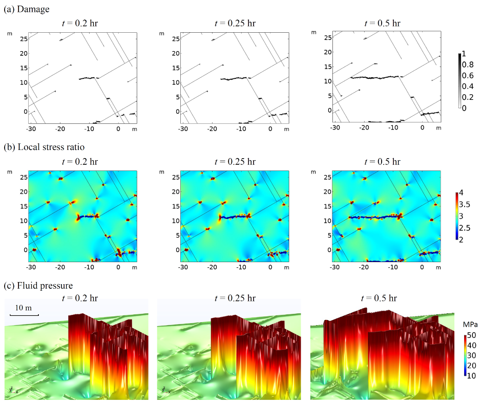 A 3-by-3 grid of images showing the damage on the top row, stress ratio in the middle row, and fluid pressure on the bottom row, for a local region of fractured rock.
