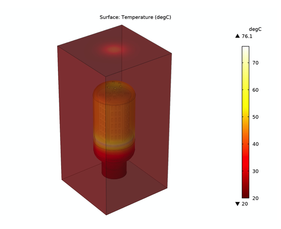 Simulation results for the temperature distribution in the chips for an LED bulb design, visualized in a red–white color gradient.