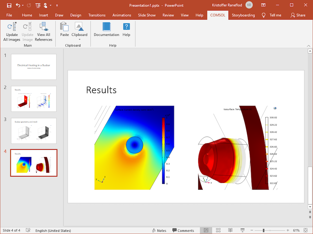 A screenshot of the PowerPoint application open on a slideshow in edit mode, with 4 slide thumbnails on the left and an open slide with two model images.