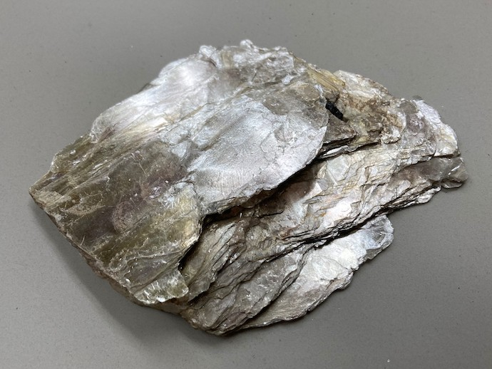 A photograph of a slab of mica on a gray surface.