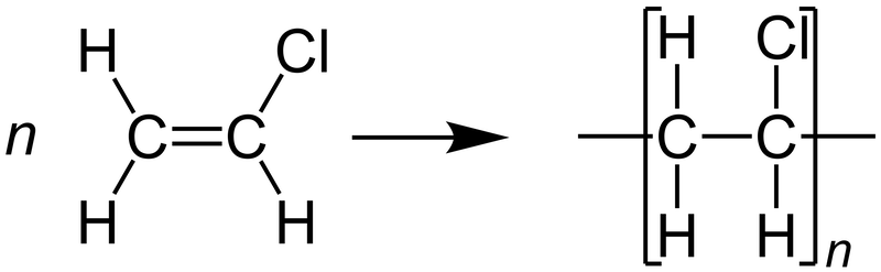 A schematic of the molecular structure for the polymerization of polyvinyl chloride, or PVC.