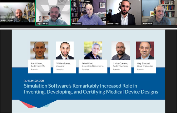 A screenshot of the panel discussion on using simulation in the biomedical industry.