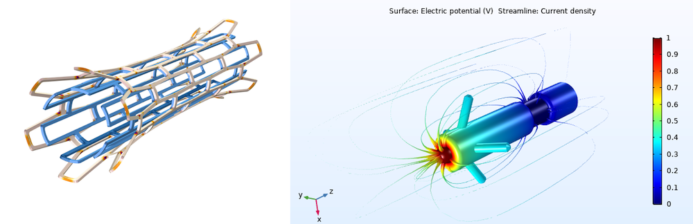 A biomedical stent modeled in COMSOL Multiphysics on the left and a pacemaker electrode model, with the electric potential shown in a rainbow color table and current density shown via streamlines on the right.