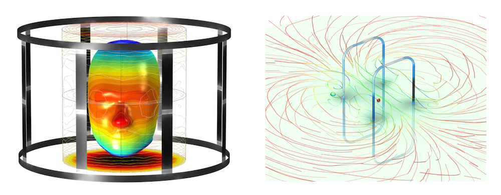 Side-by-side images showing a model of a human head in an MRI birdcage coil on the left and an RFID tag model on the right.