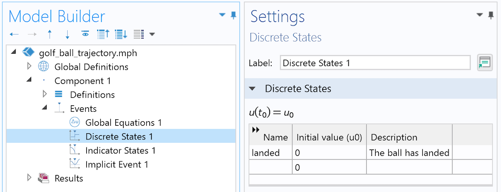 A screenshot of the Settings window for the Discrete States interface in COMSOL Multiphysics.