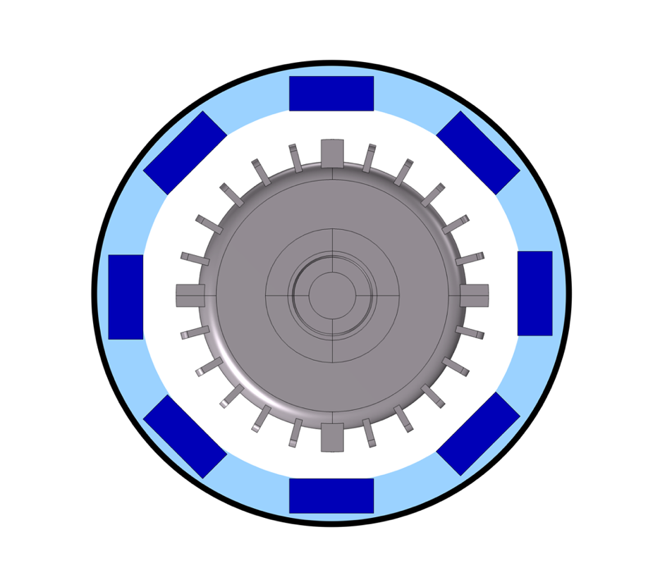 A model of an electric motor with an optimized distributed acoustic encapsulation, which can be optimized by studying sound absorption in microlattice structures.