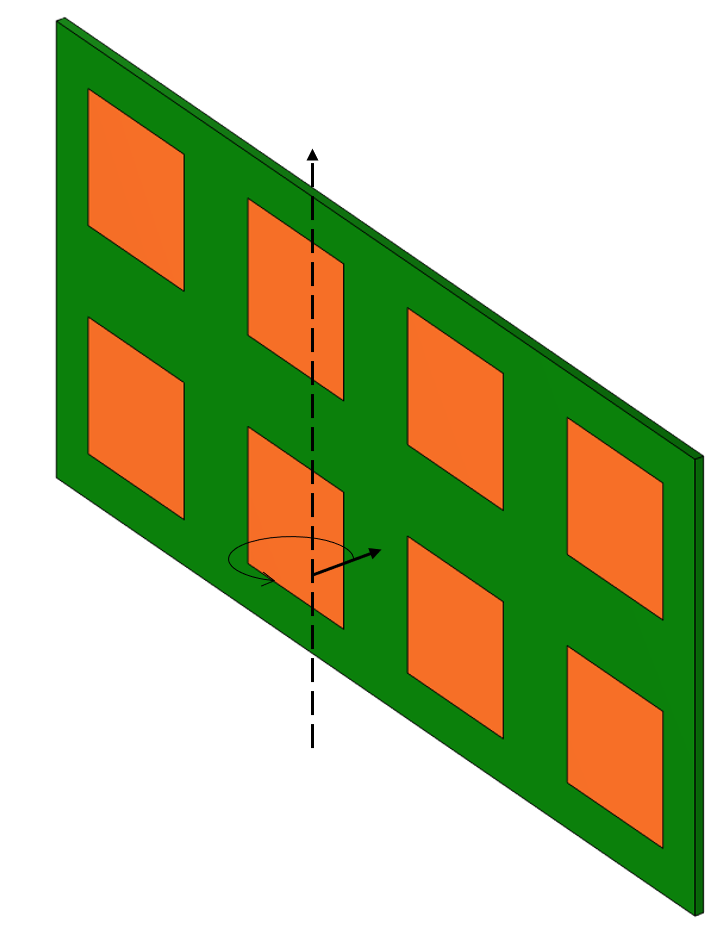 A schematic of a flexible part, shown in green and orange, with a black line showing the axis it will be wrapped around.