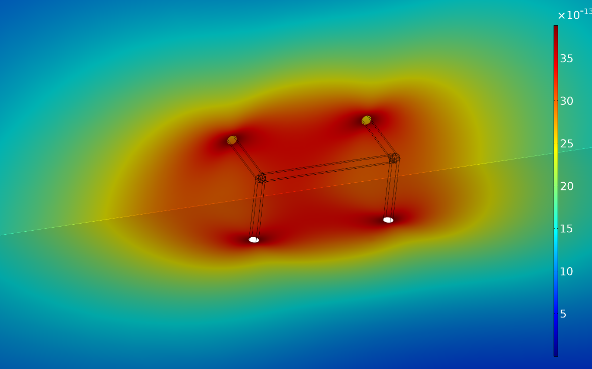 COMSOL Multiphysics results showing the fluid velocity around a lattice cell's struts, visualized in a rainbow color table.