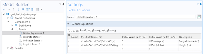 A screenshot of the Global Equations Settings window for the golf ball trajectory model, with the x and y equations listed.