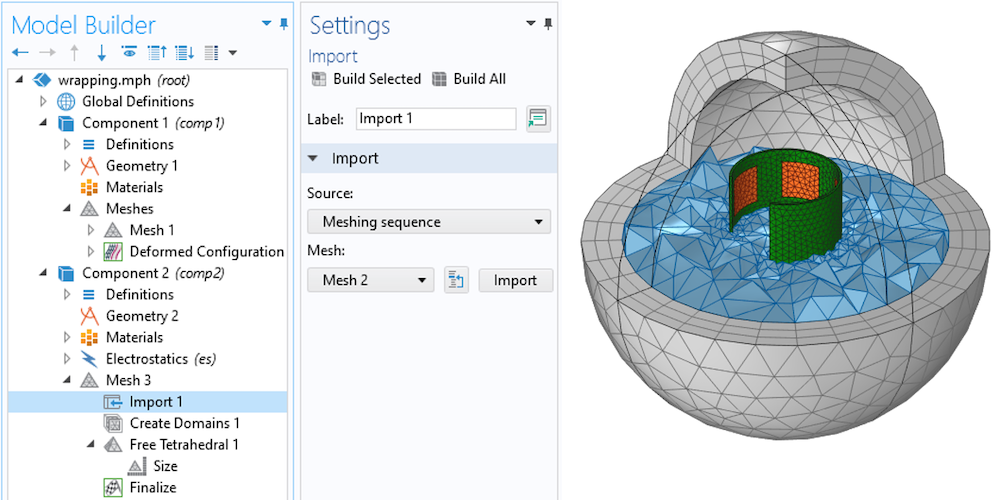 Side-by-side images showing the Import node selected in the model tree and Settings window on the left, and the meshed component and free space on the right.
