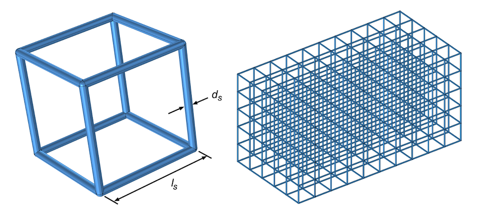 Side-by-side images showing the geometry of a unit lattice cell on the left and an array of lattice cells on the right, with the strut diameter and length labeled.